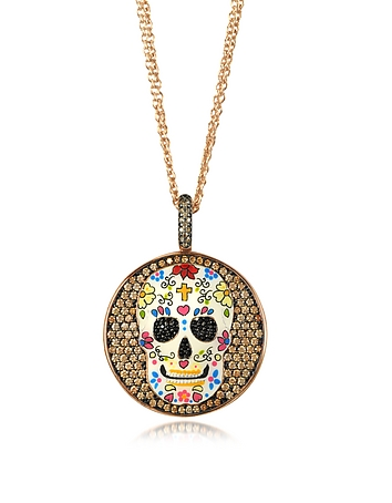 Calavera Skull Rhodium Plated Sterling Silver Pendant Necklace w/Zirconia