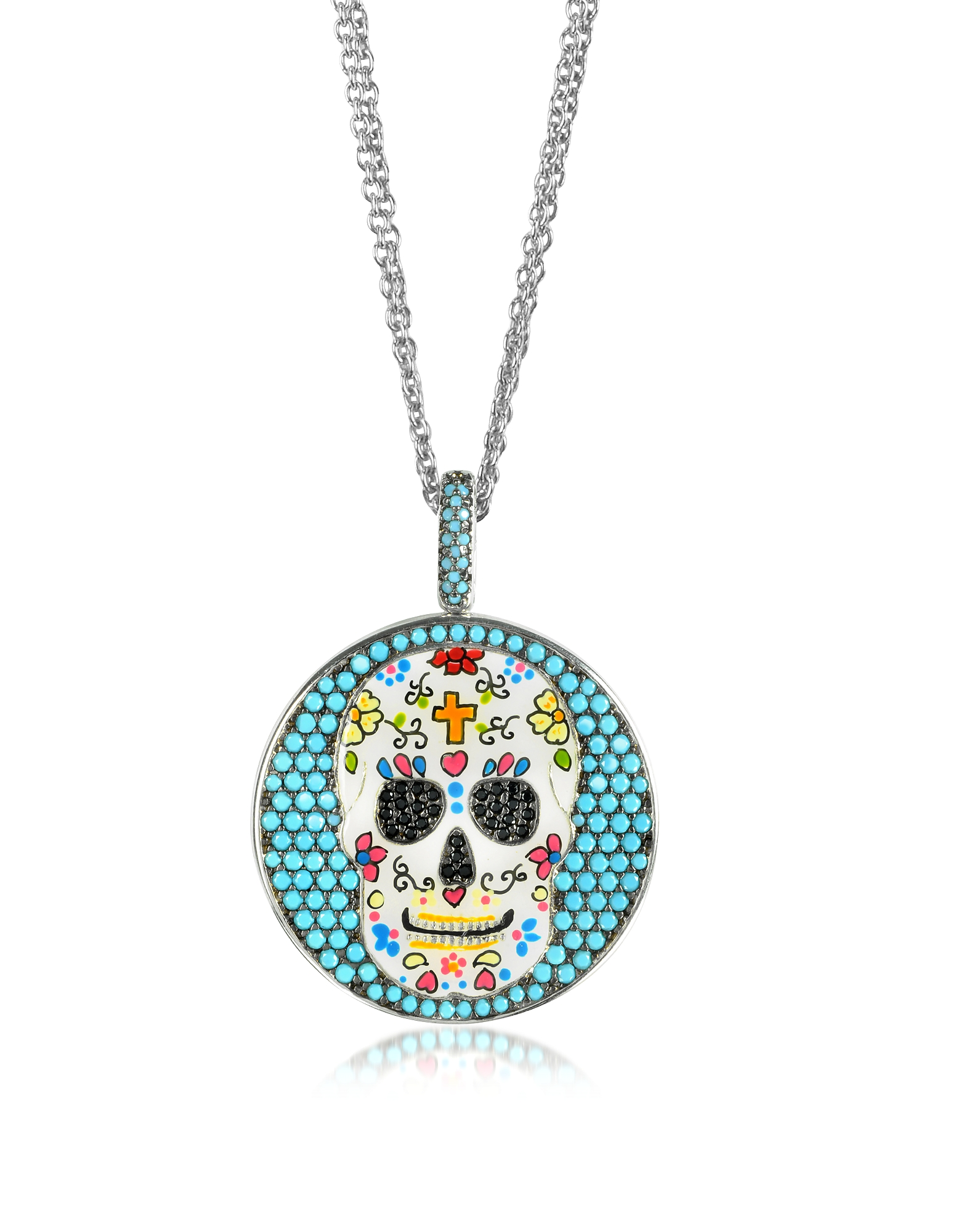 Azhar Necklaces, Calavera Skull Charm Rhodium Plated Sterling Silver Pendant Necklace