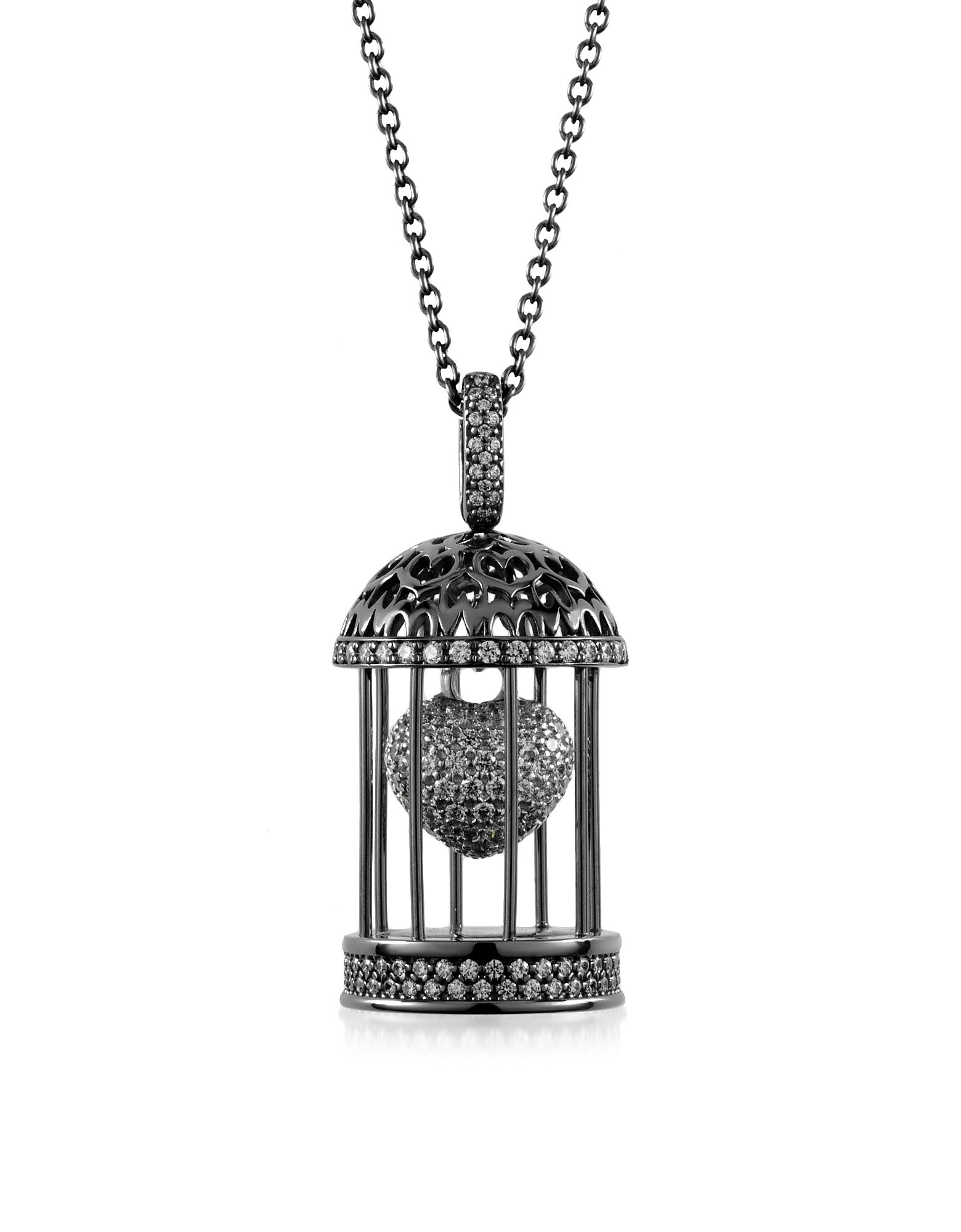 Azhar Necklaces, Gabbietta Silver and Zircon Cage Pendant Necklace