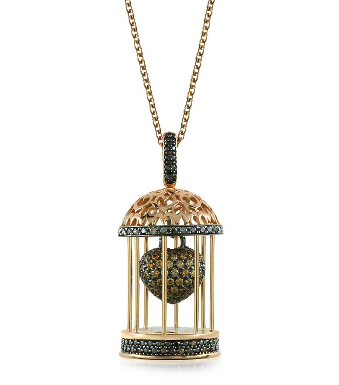 Gabbietta Silver and Zircon Cage Pendant Necklace - Azhar