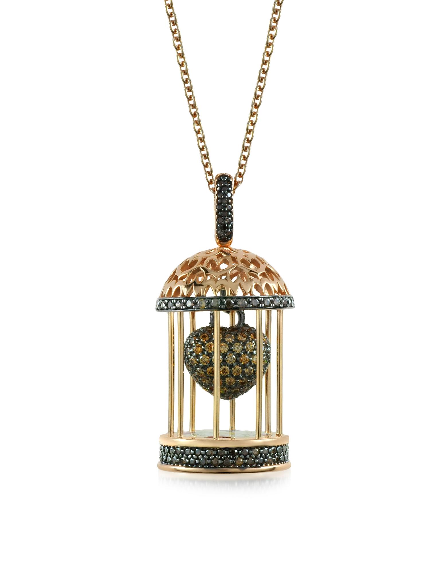Gabbietta - Ожерелье с Подвеской-Клеткой из Серебра с Цирконием