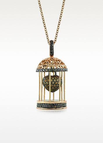 Gabbietta Silver and Zircon Cage Pendant Necklace - Azhar