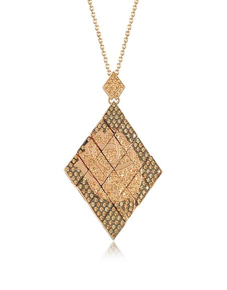 Azhar Sautoir en Argent Rose avec Pendentif Mosaique