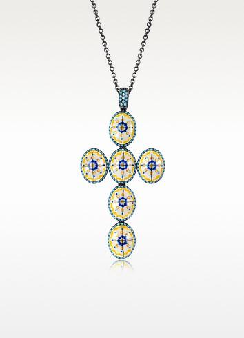 Azhar Capri - Ожерелье с Подвеской Крестом из Серебра, Циркония и Эмали