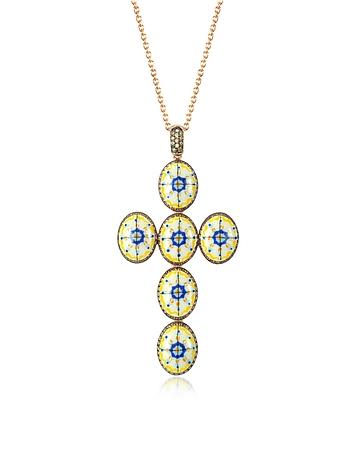 Azhar - Capri Silver Zircon and Enamel Cross Necklace