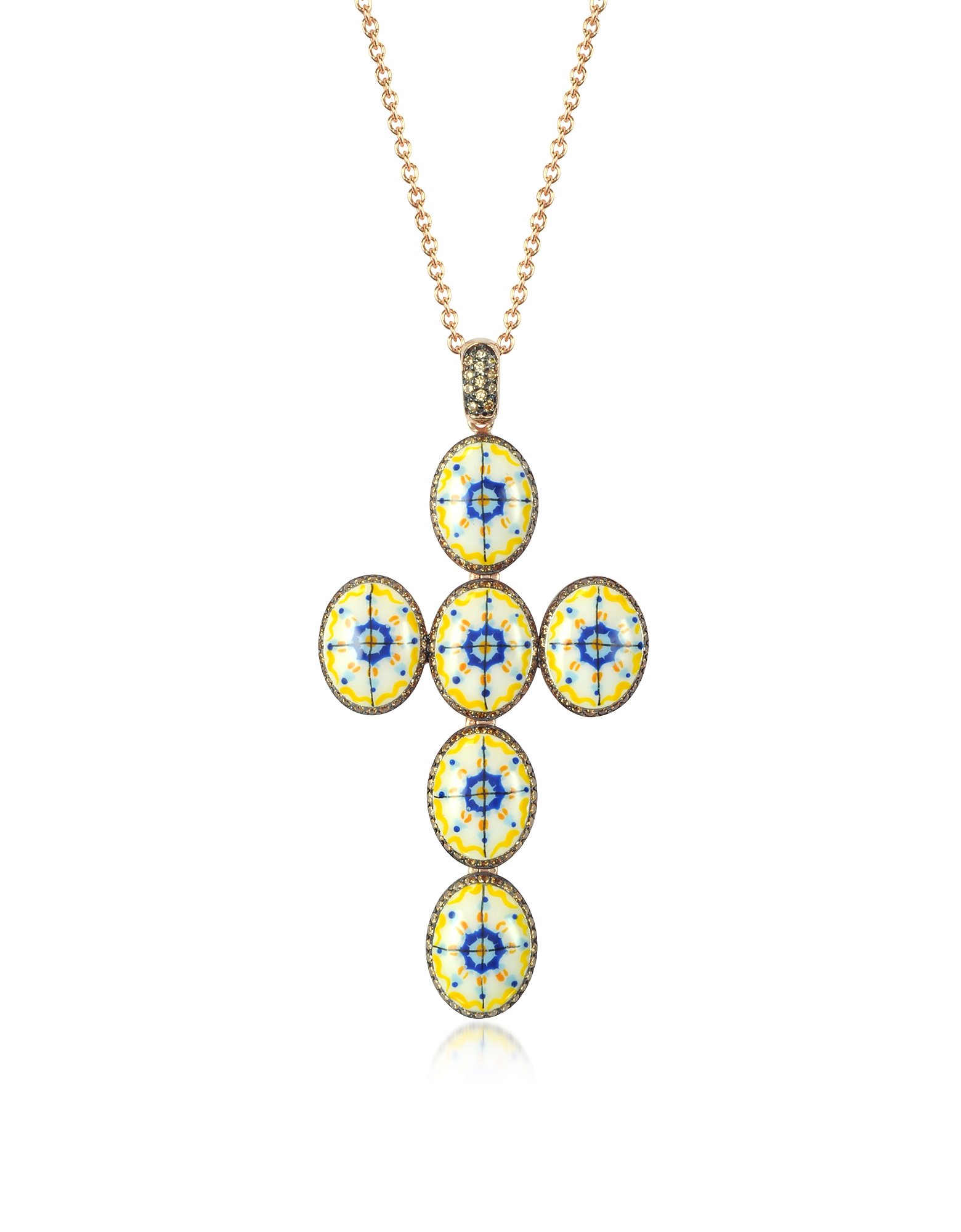 Capri Silver, Zircon and Enamel Cross Necklace