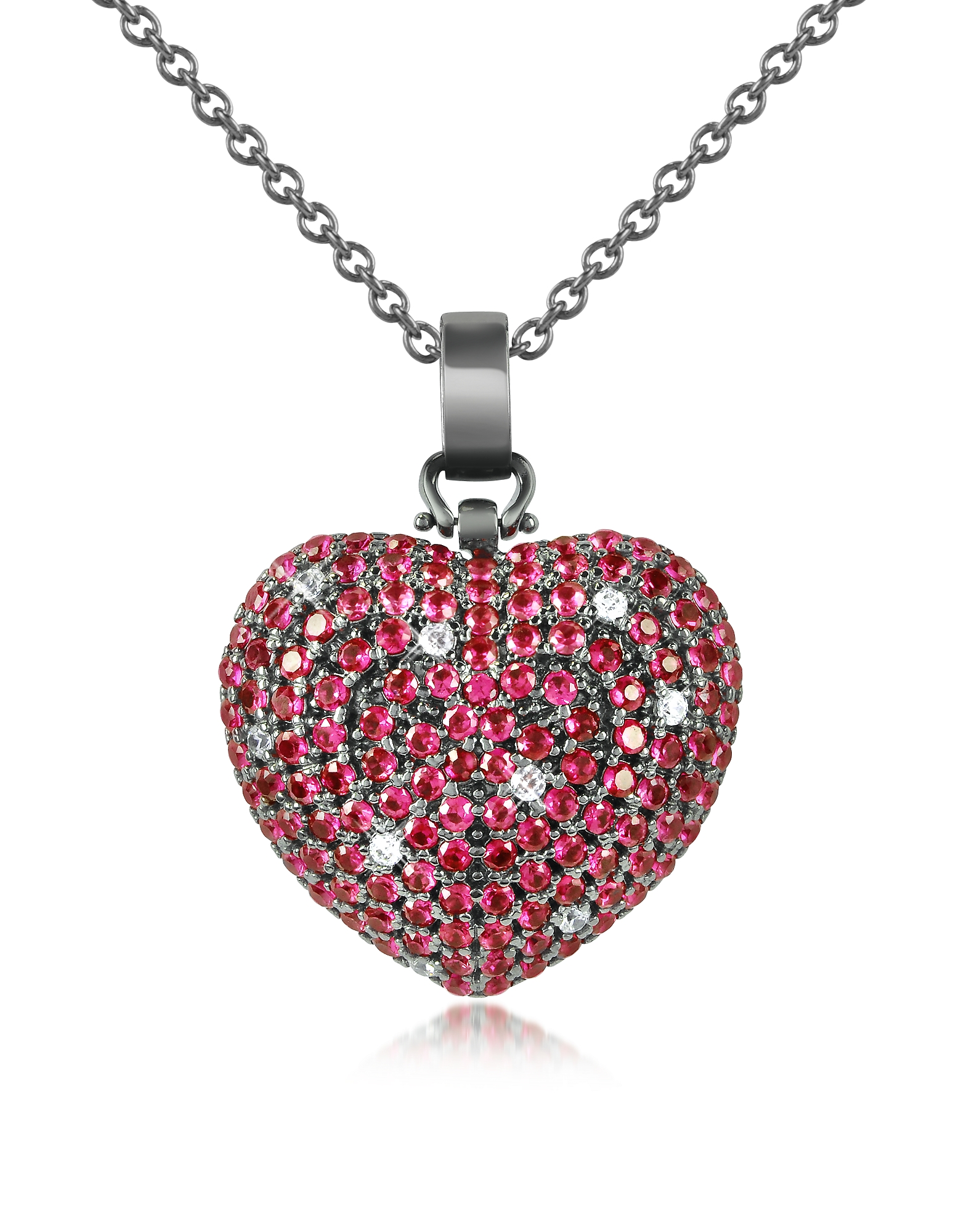 Azhar Necklaces, Sterling Silver and Cubic Zirconia Heart Pendant Necklace