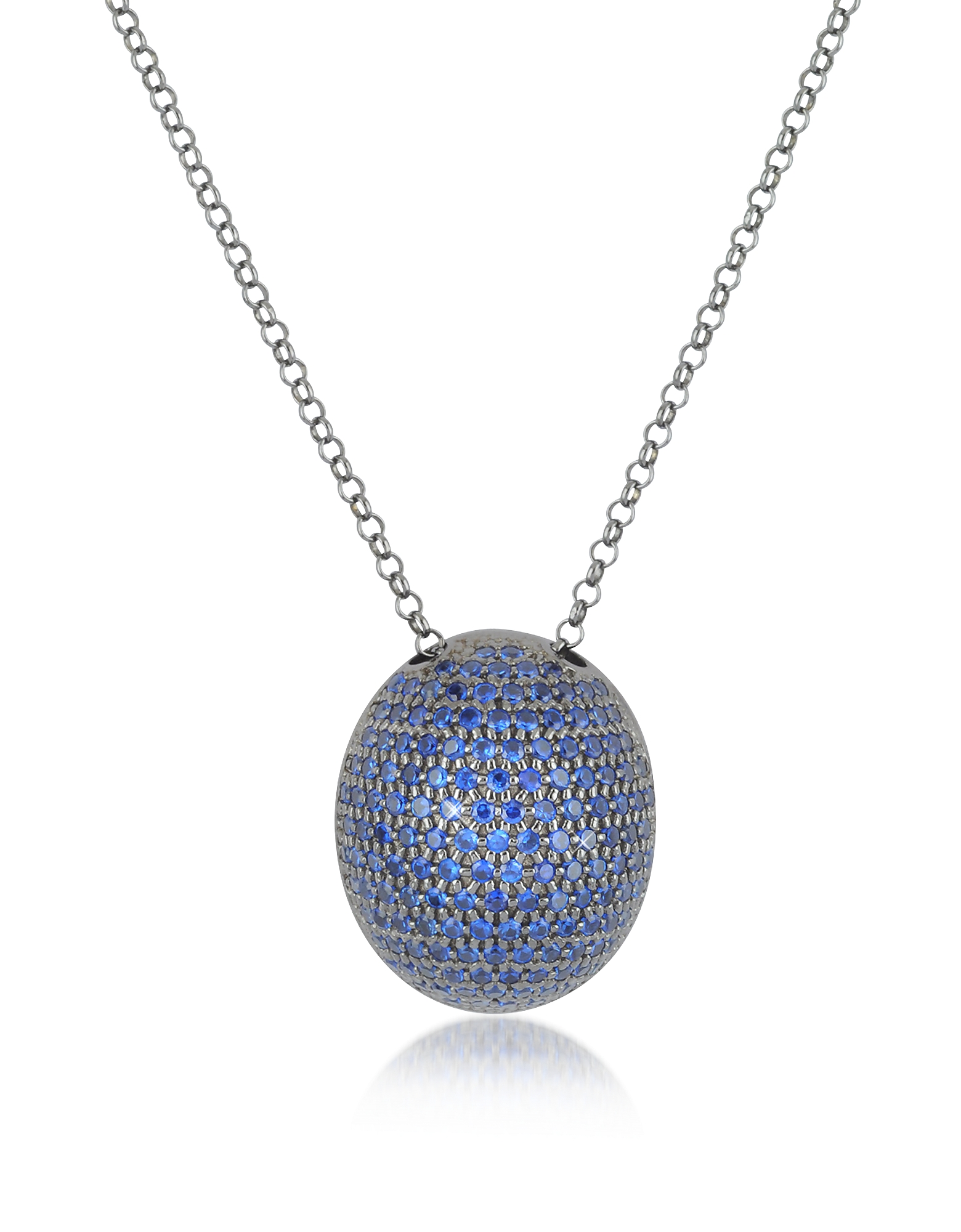 Azhar Necklaces, Blue Cubic Zirconia Sterling Silver Pendant Necklace