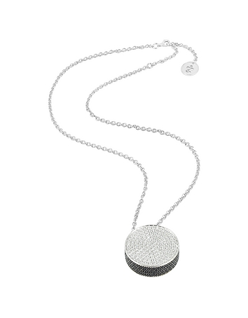 Zircon Disc Pendant Necklace