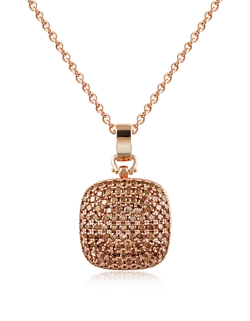 Azhar - Cubic Zirconia and Sterling Silver Square Pendant Necklace