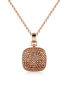 Cubic Zirconia and Sterling Silver Square Pendant Necklace - Azhar