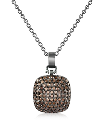Cubic Zirconia and Sterling Silver Square Pendant Necklace