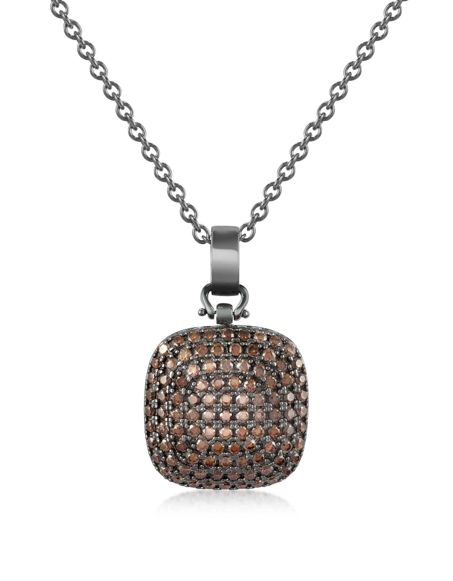 Azhar Necklaces, Cubic Zirconia and Sterling Silver Square Pendant Necklace