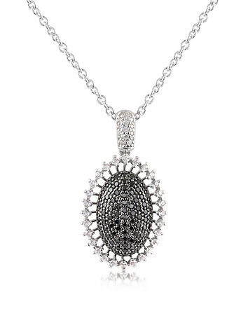 Black Cubic Zirconia and Sterling Silver Oval Pendant Necklace