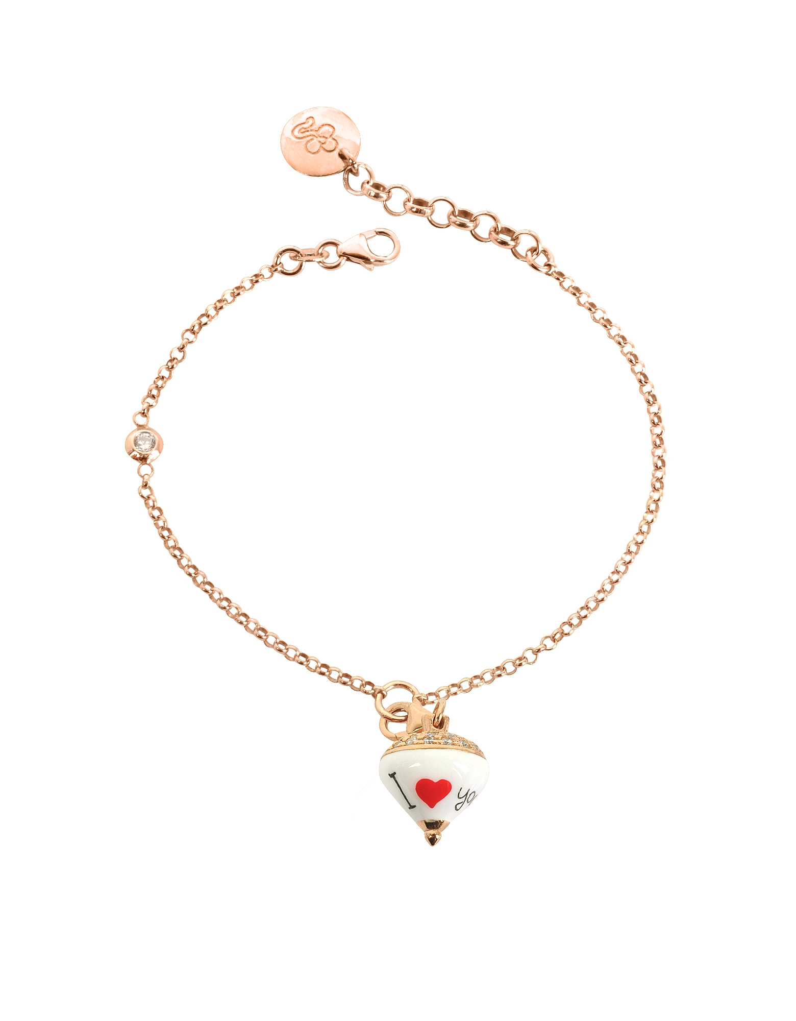 Azhar Designer Bracelets, Rose Sterling Silver and Enamel Small Spinning Top Charm Bracelet w/Cubic