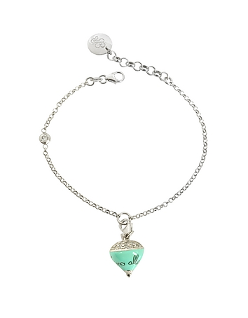Sterling Silver and Aqua Enamel Small Spinning Top Charm Bracelet w/Cubic Zi..