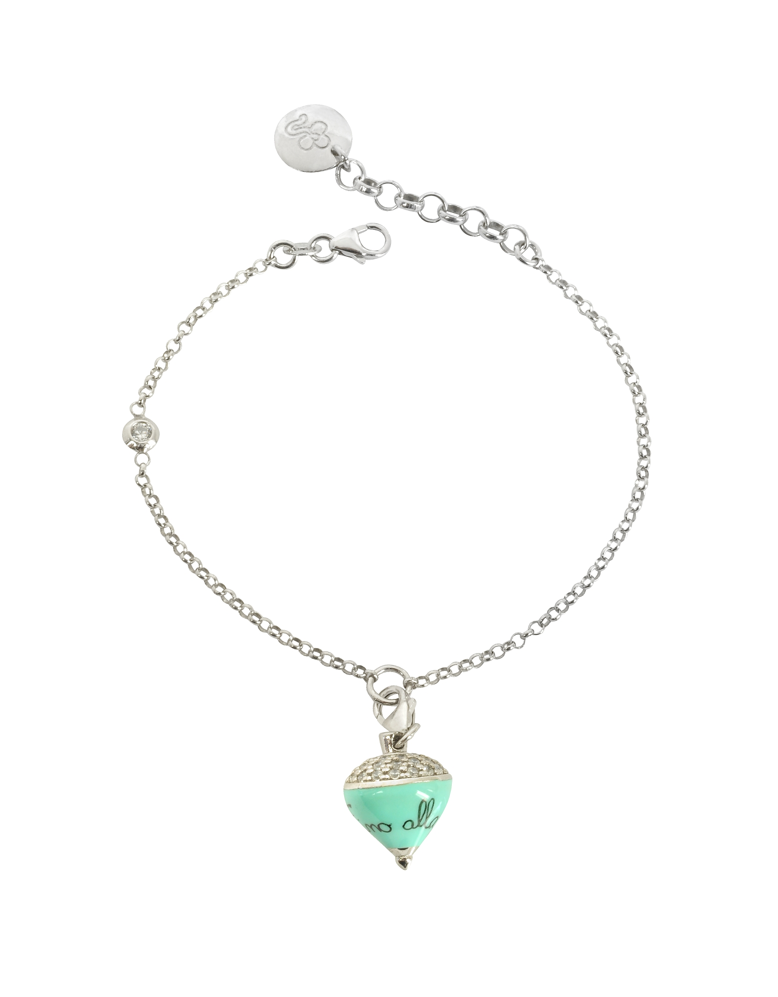 Sterling Silver and Aqua Enamel Small Spinning Top Charm Bracelet w/Cubic Zirconia