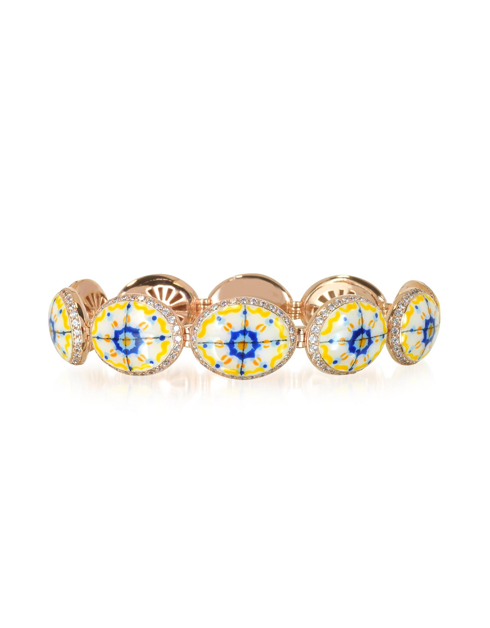 Azhar Bracelets, Capri Silver, Zircon and Enamel Bracelet