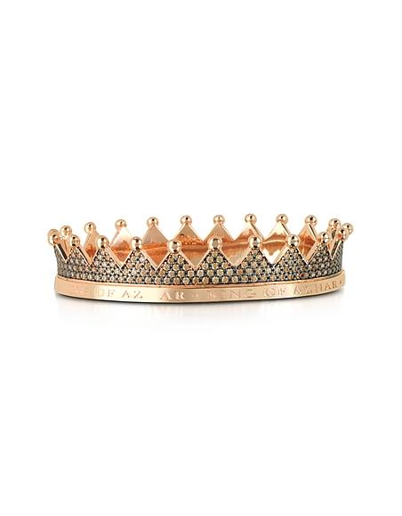 Azhar Regno - Bracelet Couronne en Argent Doré et Cristaux