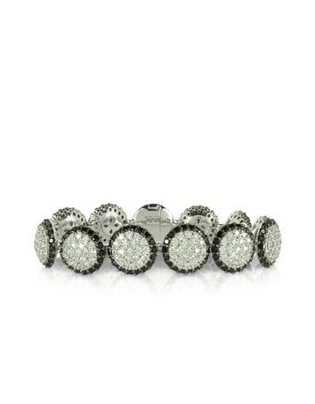 Lux-ID 208695 Two Tone Cubic Zirconia & Sterling Silver Bracelet