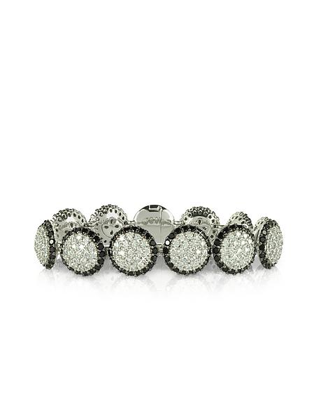 Azhar Bracelet en argent avec zircons blancs et noirs