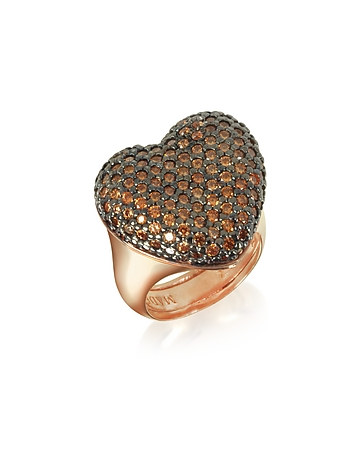 Rose Sterling Silver You/Me Ring w/Champagne Cubic Zirconia