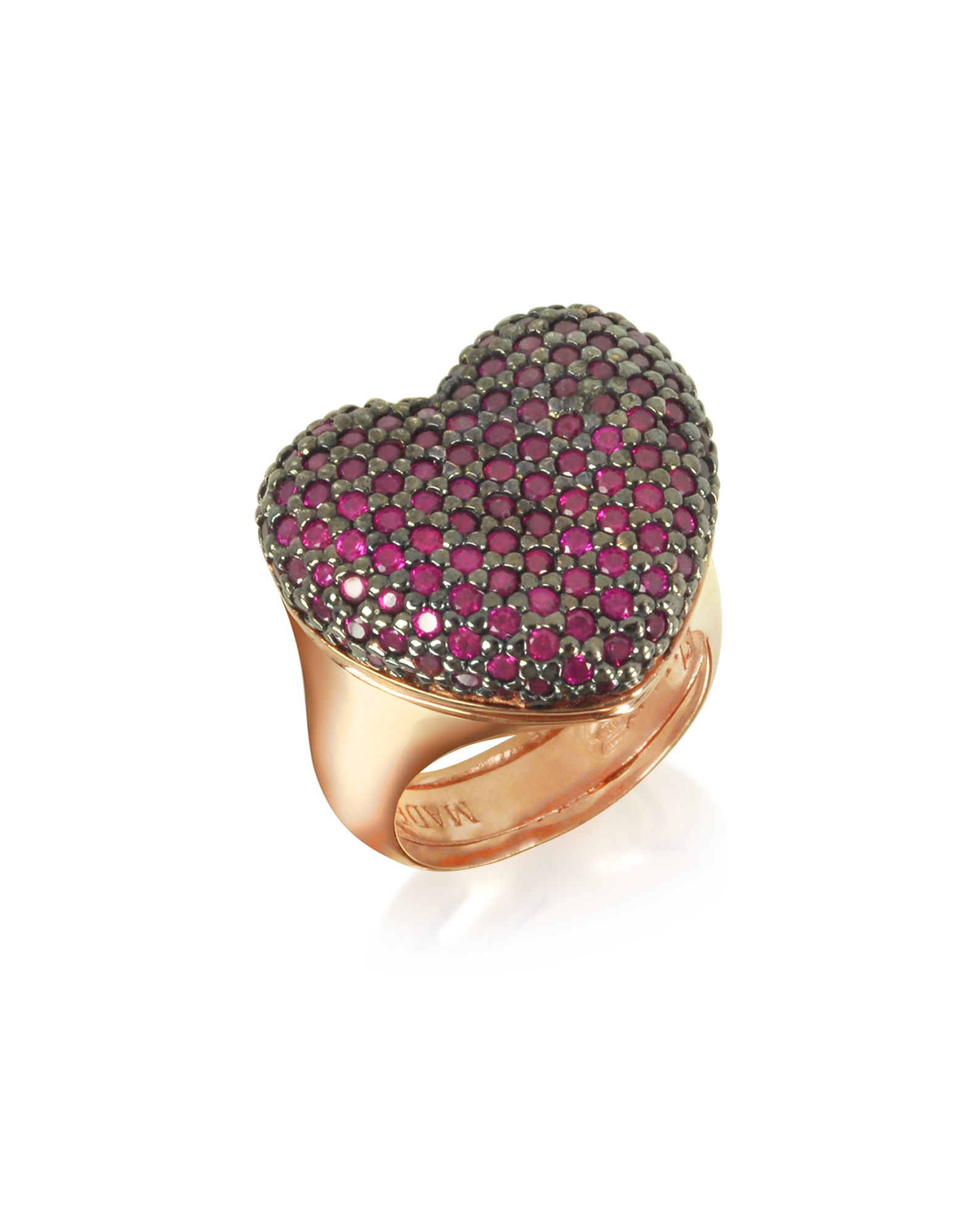 Azhar Designer Rings, Rose Sterling Silver I Love You Ring w/Red Cubic Zirconia