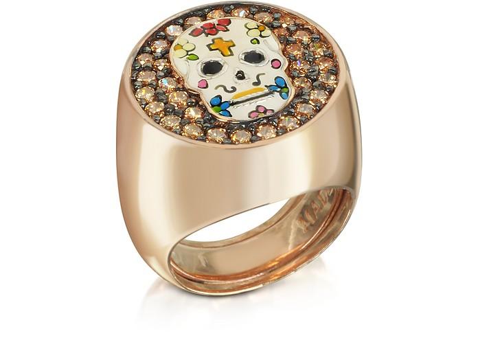 Totenkopf Ring aus rotvergoldetem Sterlingsilber mit Zirkoniasteinen - Azhar