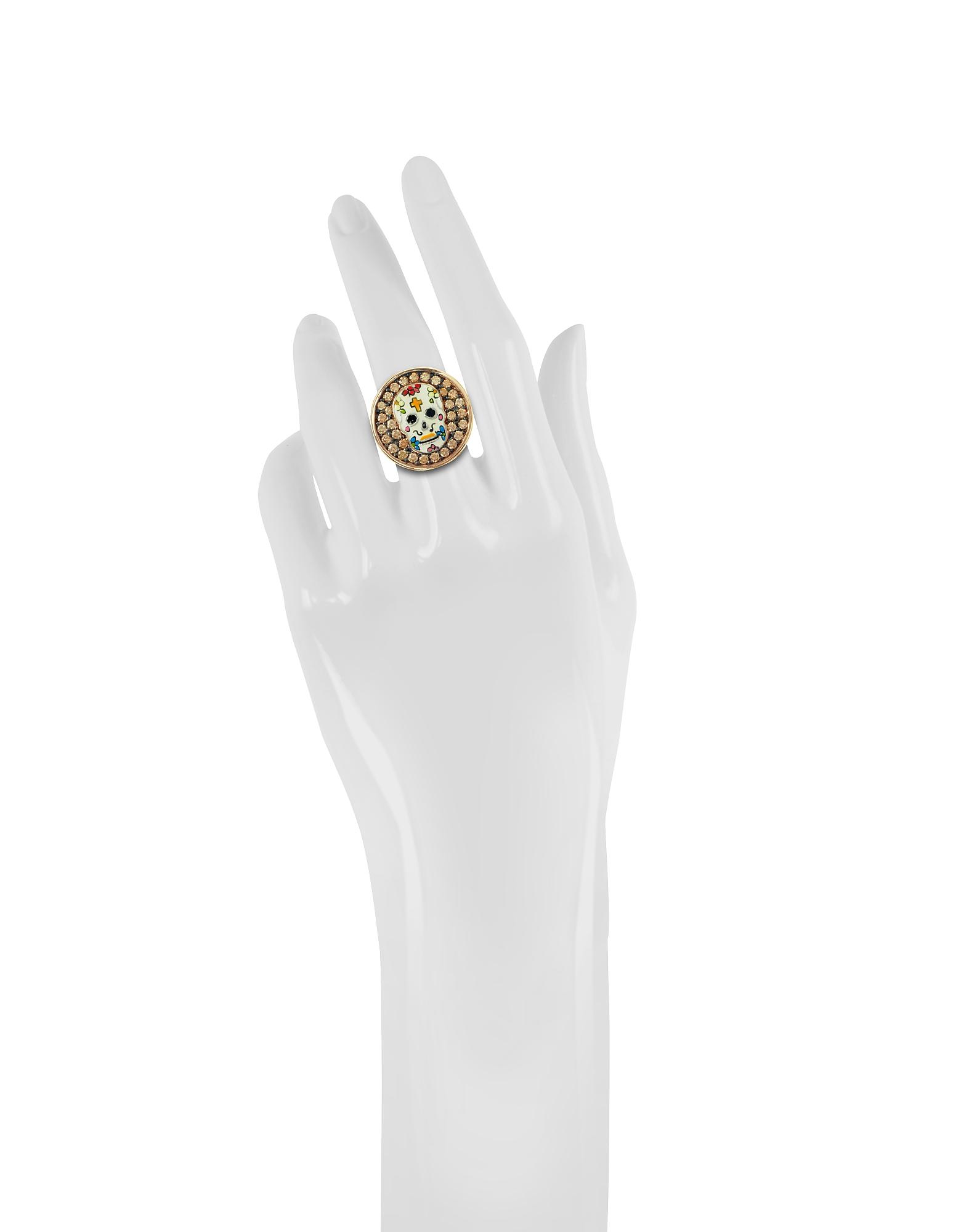 Calavera Skull Rhodium Plated Sterling Silver Adjustable Ring w/Cubic Zirconia от Forzieri.com INT