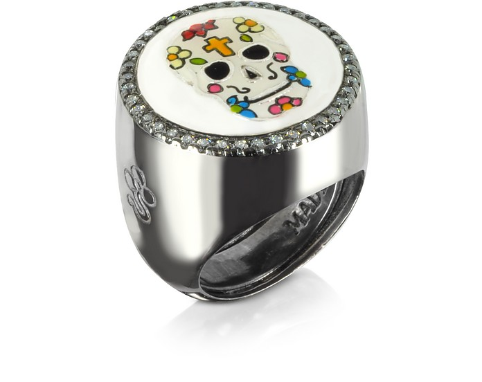 Calavera Skull Rhodium Plated Sterling Silver Adjustable Ring w/White Cubic Zirconia - Azhar