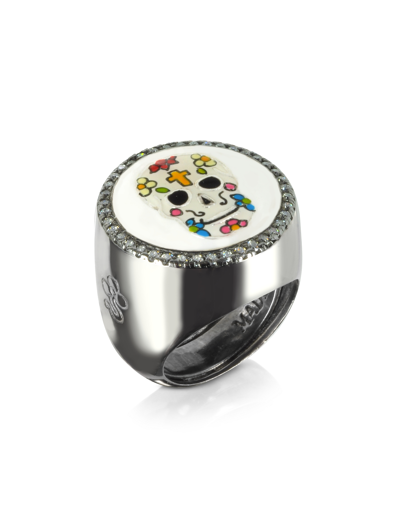 Azhar Rings, Calavera Skull Rhodium Plated Sterling Silver Adjustable Ring w/White Cubic Zirconia