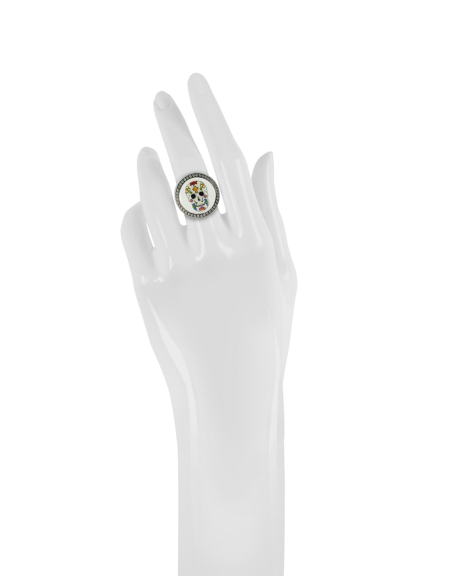 Calavera Skull Rhodium Plated Sterling Silver Adjustable Ring w/White Cubic Zirconia от Forzieri.com INT