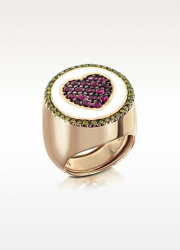 Ring aus rotvergoldetem Sterlingsilber mit Herz aus Zirkoniasteinen - Azhar