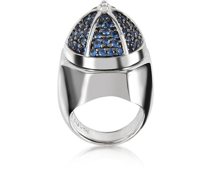 Ring aus beschichtetem Sterlingsilber mit blauen Zirkoniasteinen - Azhar