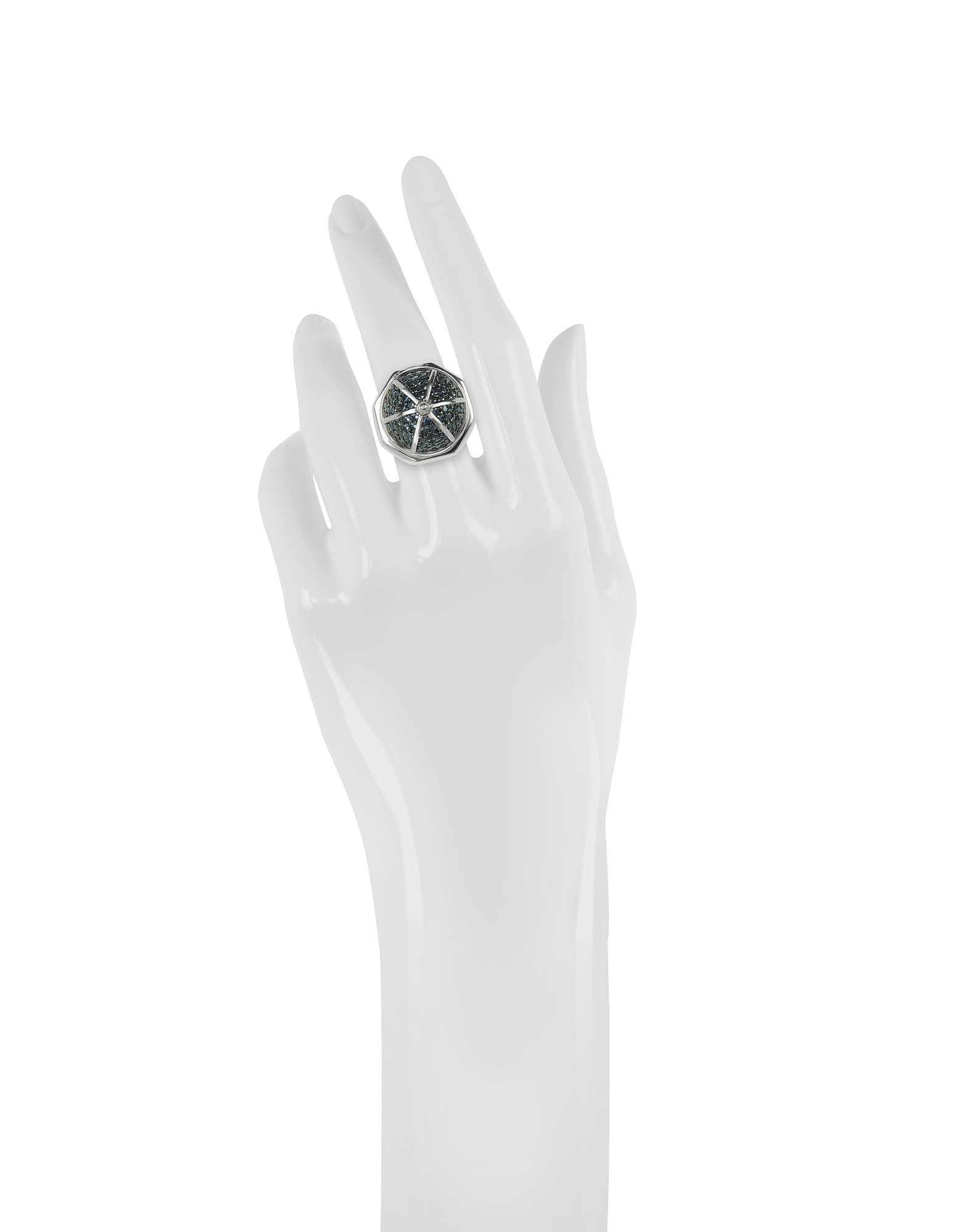 Rhodium Plated Sterling Silver Adjustable Ring w/Black Cubic Zirconia от Forzieri.com INT
