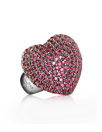 Azhar - Sterling Silver and Cubic Zirconia Big Heart Ring