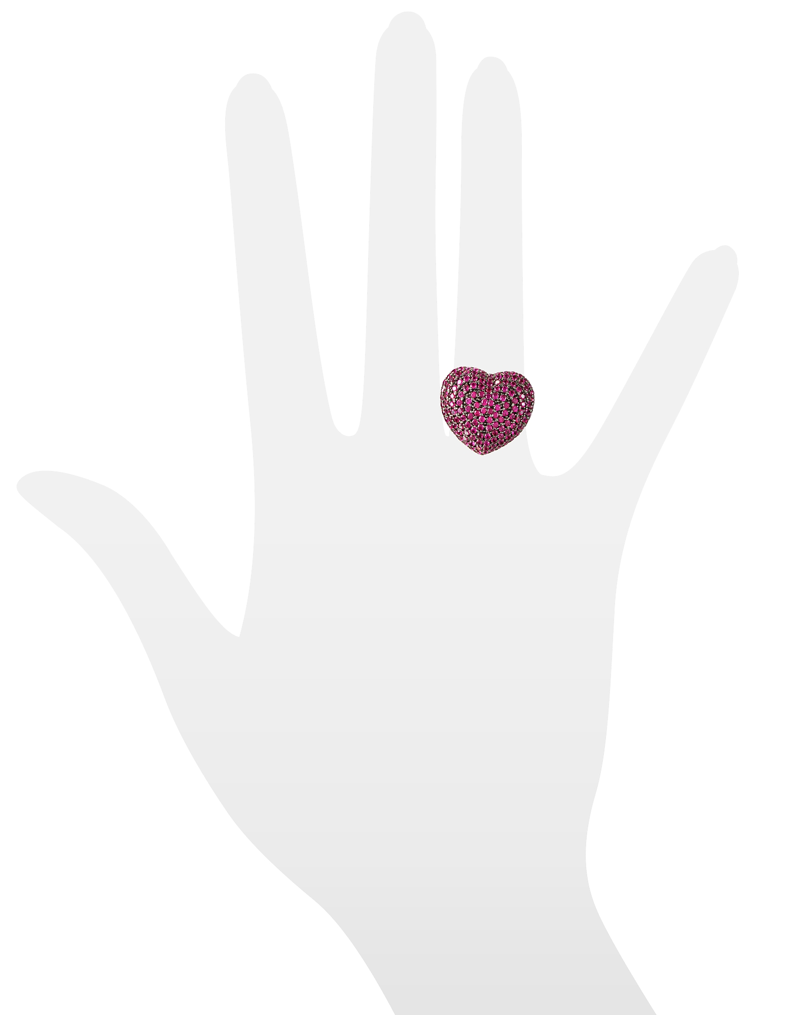Sterling Silver and Cubic Zirconia Big Heart Ring от Forzieri.com INT