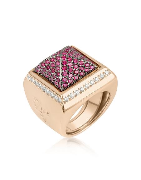 Azhar Quadratischer Ring mit pinken Zirkonen