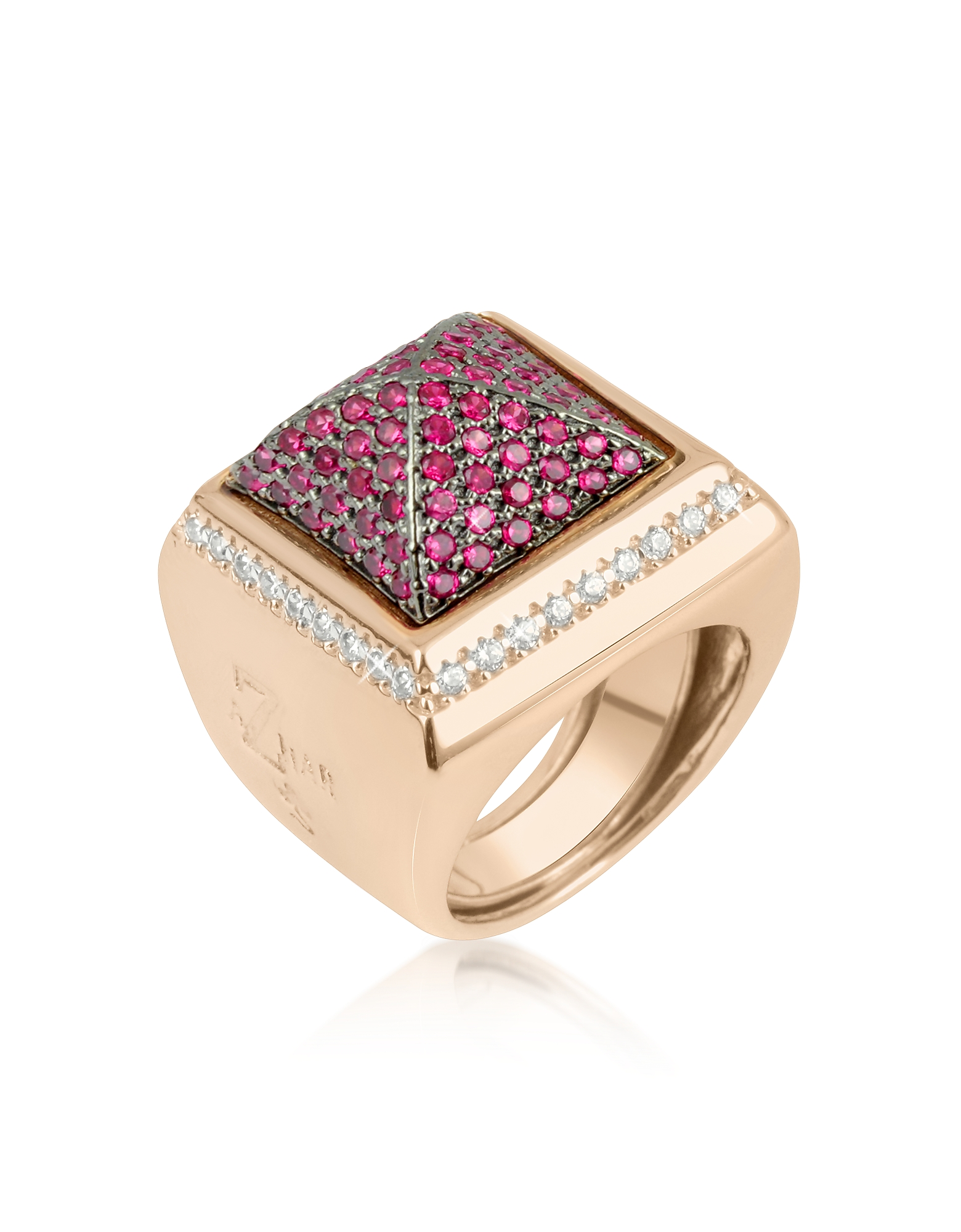 Azhar Rings, Pink Cubic Zirconia Square Ring