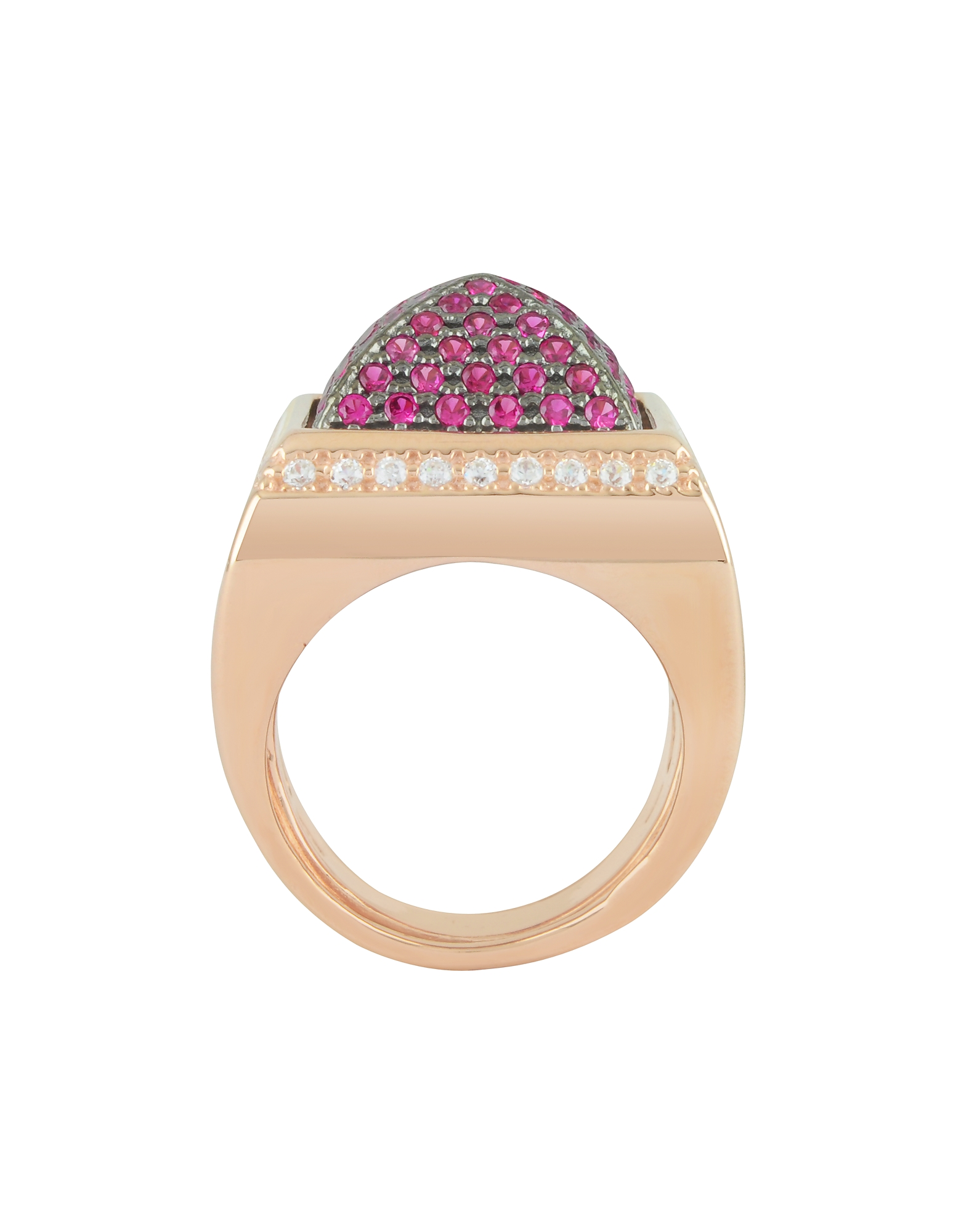 Pink Cubic Zirconia Square Ring от Forzieri.com INT