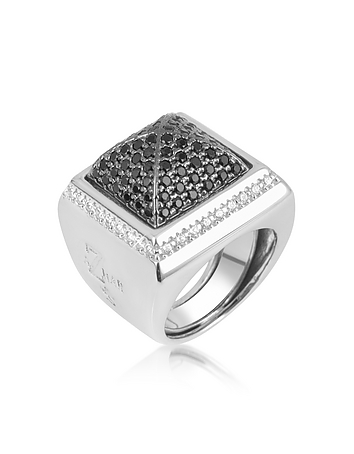 Black Cubic Zirconia Square Ring
