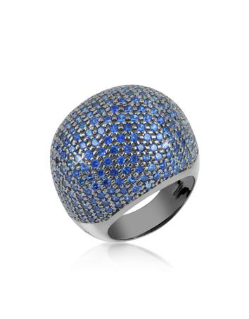Lux-ID 208706 Blue Cubic Zirconia Fashion Ring