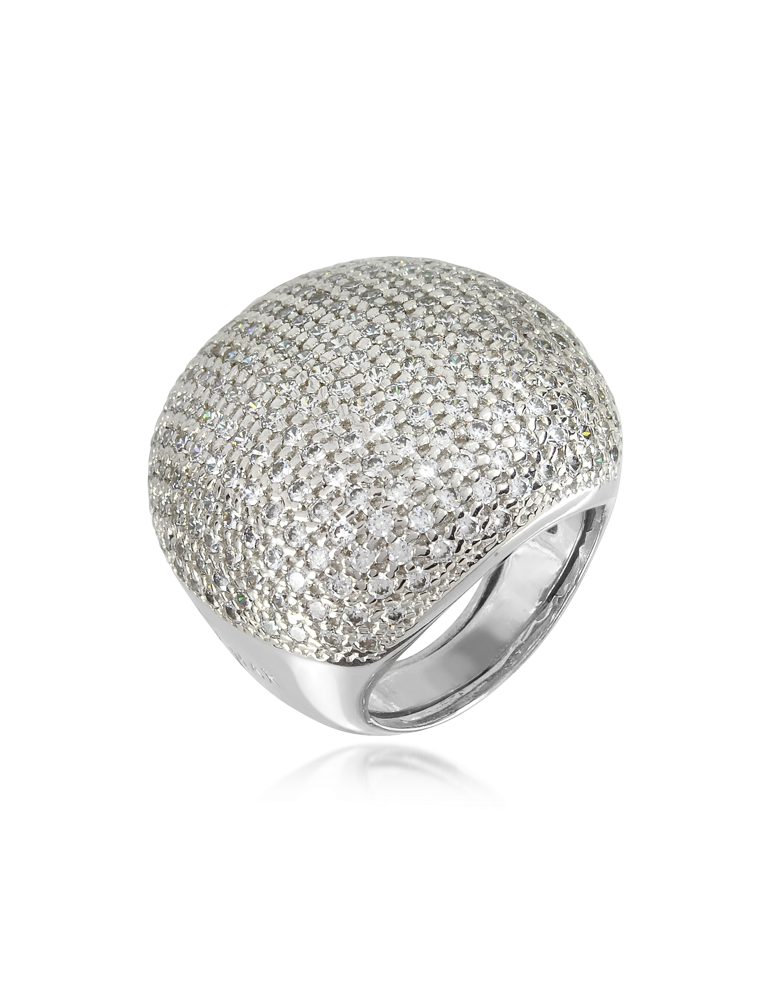 Azhar Rings, Large Cubic Zirconia Sterling Silver Cocktail Ring