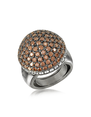 Sterling Silver Cubic Zirconia Semi-Sphere Cocktail Ring