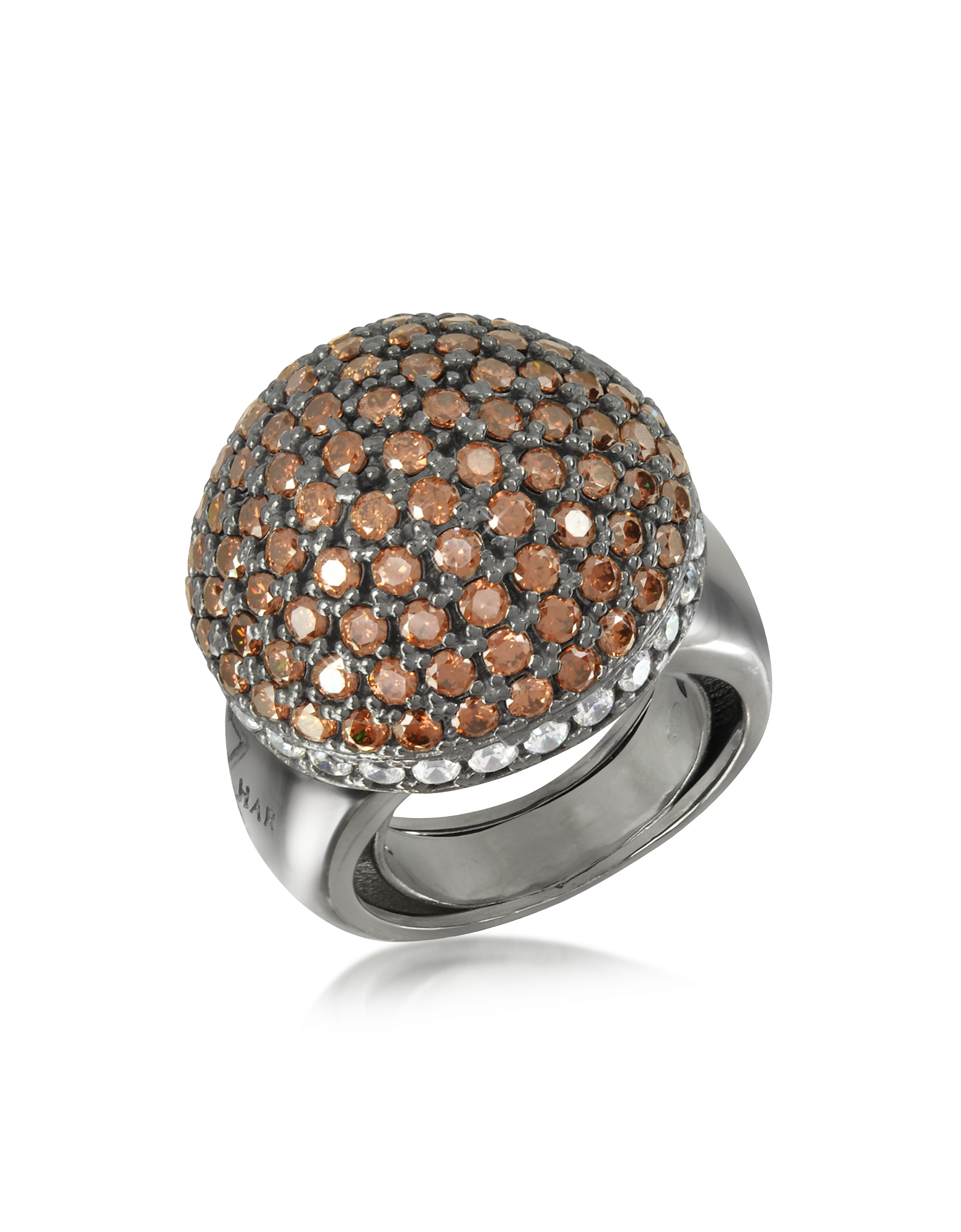 Azhar Designer Rings, Sterling Silver Cubic Zirconia Semi-Sphere Cocktail Ring