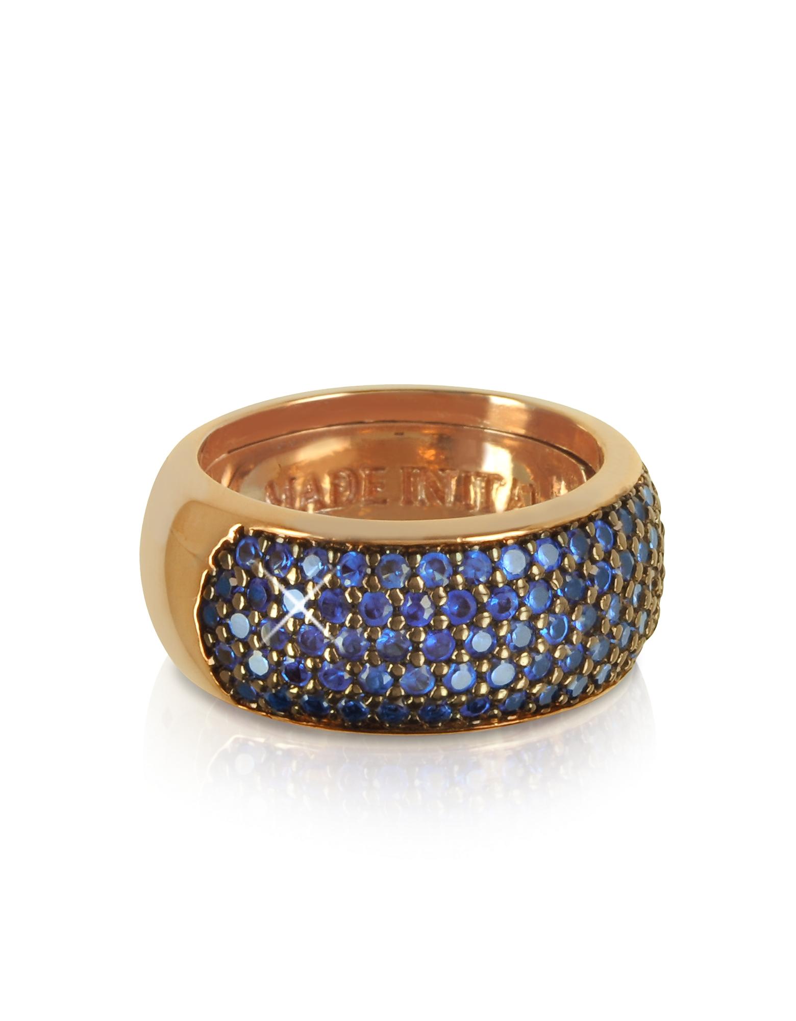 Кольцо из Сплава Серебра с Синими Цирконами