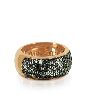 Azhar - Black Cubic Zirconia Silver Vermeil Ring