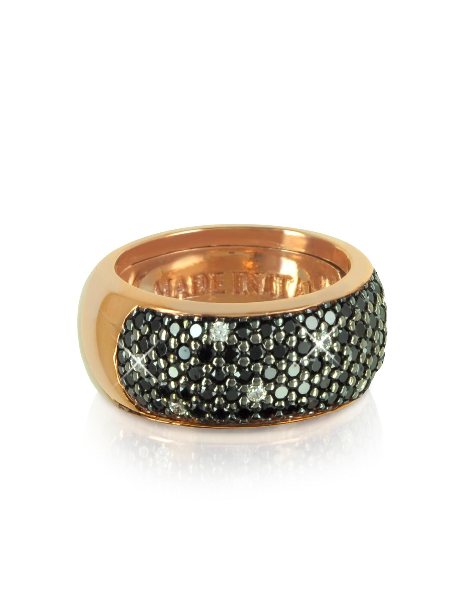 Azhar Rings, Black Cubic Zirconia Silver Vermeil Ring