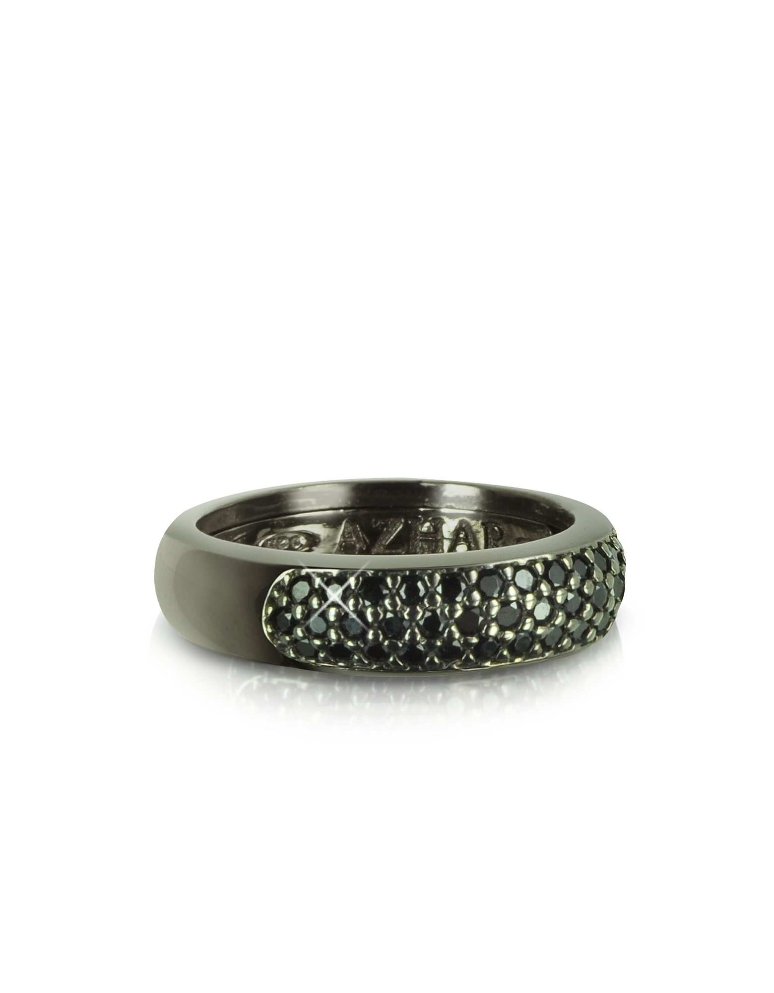 Black Cubic Zirconia & Sterling Silver Ring