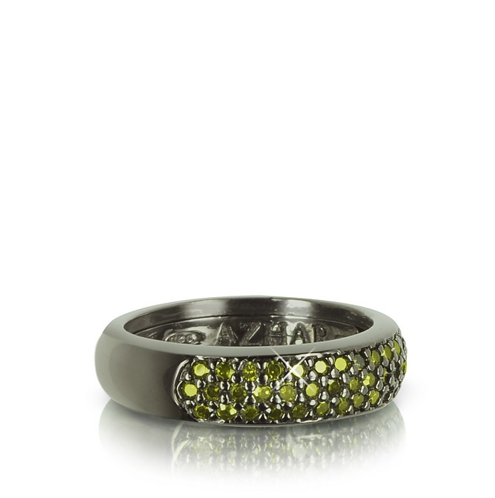 Olive Green Cubic Zirconia and Sterling Silver Ring - Azhar